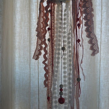 Modern Bohemian Dream Catcher, Home Decor, Wall decor, Wedding Decor, Gift, Shabby chic, Beige, pink and merlot