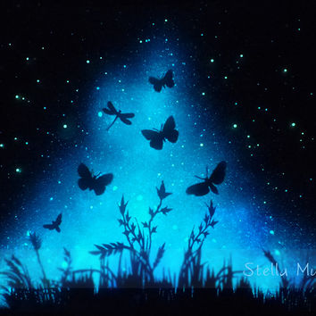 Glow in the Dark Meadow Poster with Butterflies