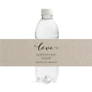 Kraft Wedding Water Bottle Labels