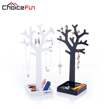 CHOICEFUN New Arrival 2 Color Fashion Necklace Bracelet Jewelry Display Box Cute Small Tree Storage Rack SF-84017