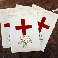 Bachelorette Party Favor Bags - Muslin 5x7 Bags / Wedding Hangover Kits / Mens Bachelor Party / Birthday Party Favors / Bridal Shower Gift
