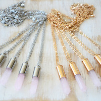 ROSE QUARTZ ➳ GOLD/SILVER BULLET CRYSTAL NECKLACE