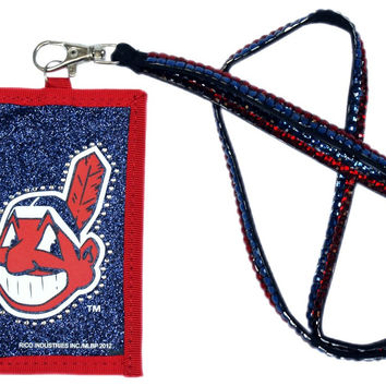 Cleveland Indians Beaded Lanyard Wallet
