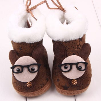 Lovely Newborn Baby Kid Soft Crib Shoes Cartoon Pattern Warm Coral Fleece Boots SM6