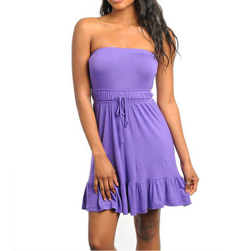 Strapless Ruffle Hem Dress in Purple
