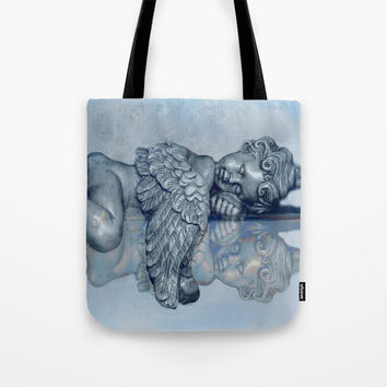 Sleeping Angel Tote Bag by Theresa Campbell D'August Art