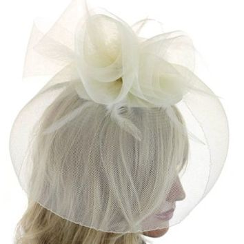 Fine Lady Tea Party Derby Cocktail Fashion Fascinator Hat with Flowers Feathers Net and Veil Wedding Accessory