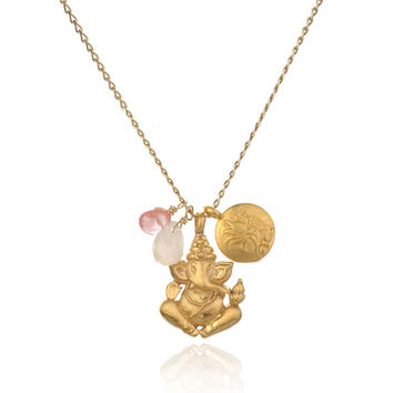 Gold Rose & Cherry Quartz Ganesha Lotus Necklace - Clear the Path