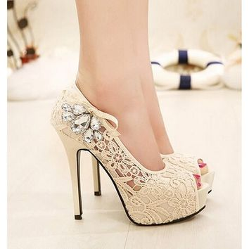 Womens Lace Pink Fish Head Pumps Wedding Shoes - Free Shipping