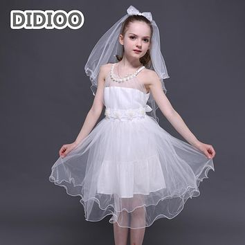 Flower Girls Wedding Dresses Elegant Mesh Tulle Dresses For Girls Ball Gowns Strapless Kids Princess Prom Dress