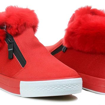 Fur Trim Red Sneaker Vegan Suede Booties Women's Flats
