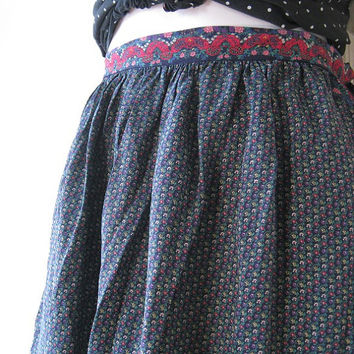 1970s Dark Blue/Pink/Teal Print Indian Skirt - Small-Medium Hippie Print Silk Skirt - Dark Blue Silk Indian Skirt