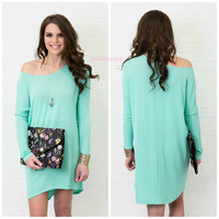 Twisted Tulips Mint Sweater Tunic