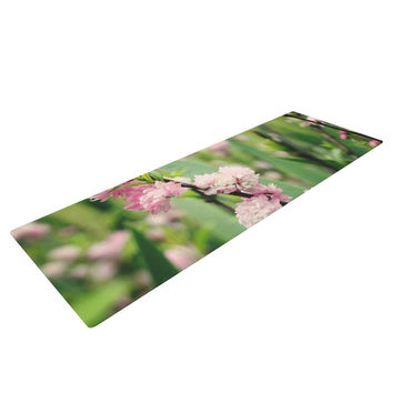 """Beth Engel """"The Best Things in Life Are Pink"""" Green Pink Yoga Mat"""