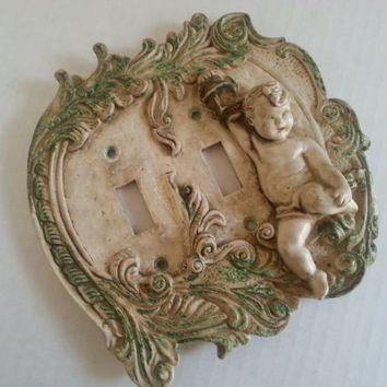 Vintage 1960's Ornate Cherub Light Switch Cover Hollywood Regency Angel Home Decor