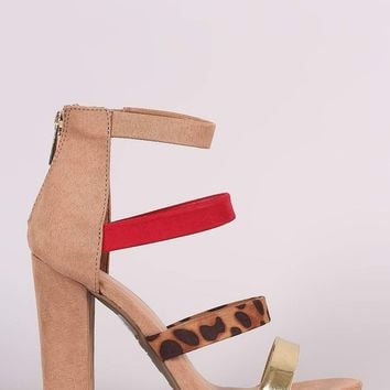 Bamboo Suede Strappy Leopard Open Toe Chunky Heel