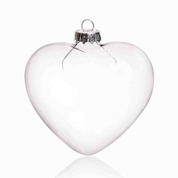 100 Pieces x DIY Paintable 3.54 Inch (90mm) Christmas Decoration Clear Glass Heart Ornament With a Silver Cap