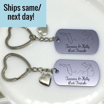 Long Distance Keychain Set, Long Distance Friendship, State or Country, Custom Engraved Keychain, Deployment Keychain, Gift for Her