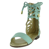 Kids Flat Sandals Butterfly Cutout Gladiator Lace Up Shoes Green SZ