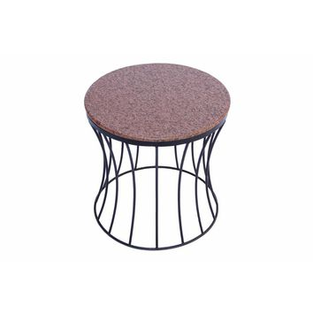 Stylish Iron Base Side Table With Marble Top, Brown By The Urban Port