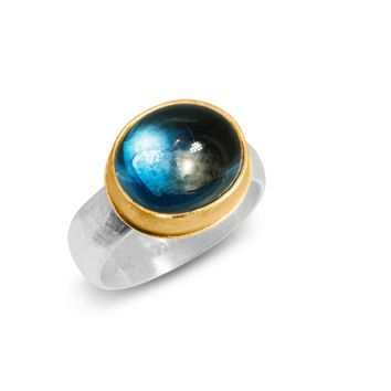 ALL NEW Moonlit Night - Blue Topaz, 22K Gold and Silver Ring