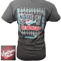 SALE Southern Chics Funny Nurses Heartbeat Healthcare Bright T Shirt