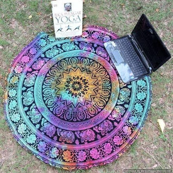Mandala Roundie Round Beach Throw Tapestry, Hippy Boho Gypsy Cotton Table Cloth Beach Towel, Round Yoga Mat, 70 Inch. Approx