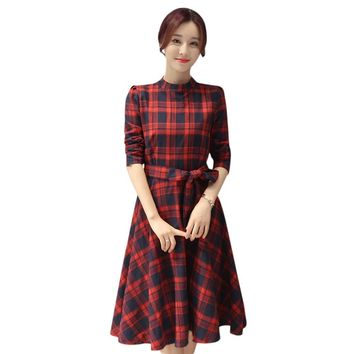New Autumn Plaid Dress Fashion Long Sleeve Elegant Dress Women Stand Neck Tunic Brand Clothing Casual Dress Vestidos