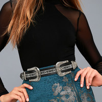 Buckle Down Silver and Black Double Buckle Belt