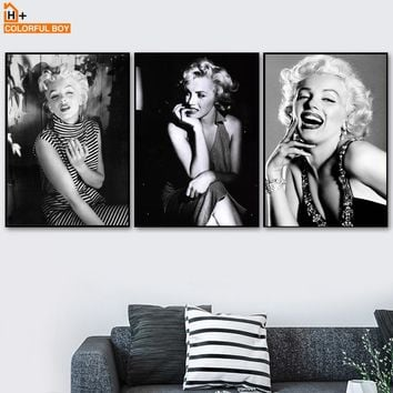 Hollywood Star Marilyn Monroe Wall Art Canvas Painting Nordic Posters And Prints Black White Wall Pictures For Living Room Decor
