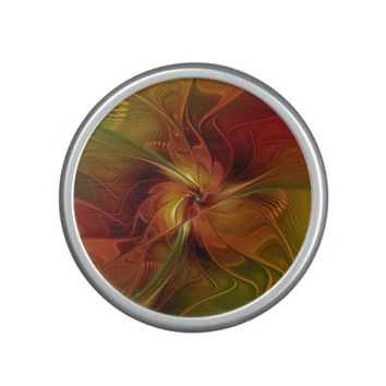 Abstract Red Orange Brown Green Fractal Art Flower Speaker