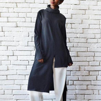 SALE Black Asymmetric Polo Top/Loose Casual Tunic/Extravagant Long Short Blouse/Polo Neck Black Tunic/Long Sleeve Polo/Black Oversize Long T