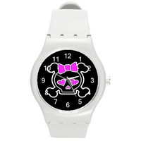 Goth - Punk Skull w/ Pink Bow on a White Plastic Watch ...New