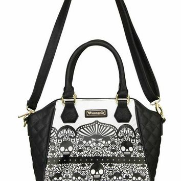 """Skull Detail With Quilting"" Crossbody Handbag by Loungefly (Black/White)"