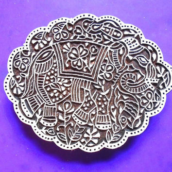 Large Elephant Ornate Hand Carved Wood Stamp Animal Textile Indian Print Block
