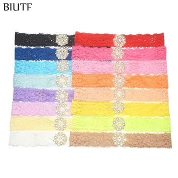 16pcs/lot Stretchy Lace Headband with Pearl Rhinestone Button Hair Band Little Kids Photography Props ZF014