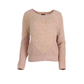 Vince Camuto Womens Faux Fur Knit Pullover Sweater