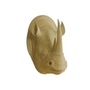 The Large Serengeti Khaki Brown Faux Taxidermy Resin Rhino Head Wall Mount | Khaki Brown Rhinoceros w/ Colored Horns