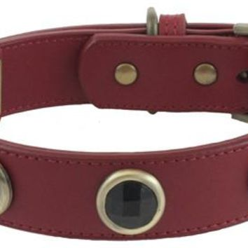 'Pebble' Faceted Onyx on Red Leather Dog Collar