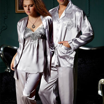 Free Shipping Couple Pajamas Emulation Silk Women Pijama Full Sleeve Men Pyjama V-neck Solid Sleepwear Casual Nightwear 8306