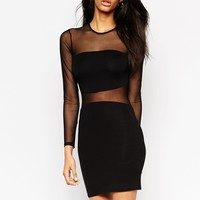 ASOS Curved Mesh Panel Bodycon Mini Dress