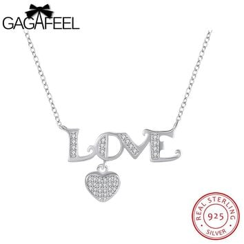 GAGAFEEL Love Letter Heart Romantic Necklace Women Sterling Silver 925 Jewelry Chain Statement Pendant Clear Cubic Zircon