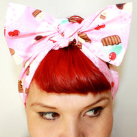Bow style, Vintage Inspired Head Scarf, Cupcakes and Cherries, Rockabilly, Retro