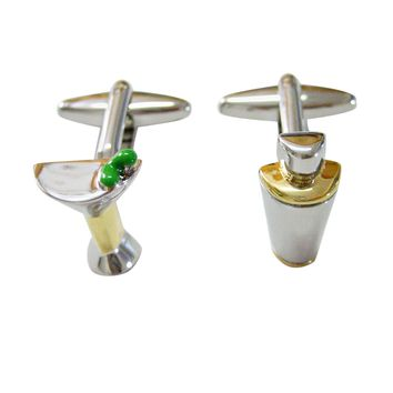 Colorful Martini Glass and Cocktail Shaker Cufflinks