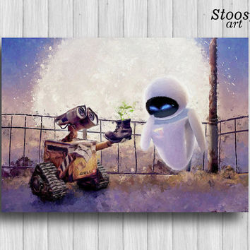 wall-e and eve poster pixar art nursery watercolor love painting disney print