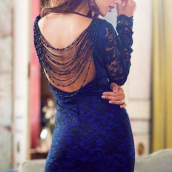 Full Sleeved Blue Lace Bodycon Dress with Backless Beaded Fringe Details