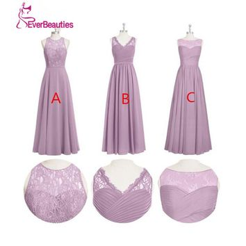Vestido De Festa De Casamento Cheap Bridesmaid Dress Under $50 Long Chiffon Lace A Line Three Styles Wedding Guest  Dress