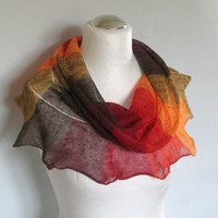 Linen Scarf Yellow Orange Red Burgudy Brown Infinity Scarf Cowl Wrap