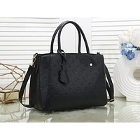 """LV""Louis Vuitton black printing large capacity multi-function ladies handbag shoulder bag shopping bag"