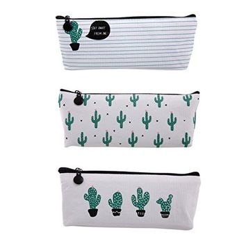 Set of 3, Zicome Canvas Student Pen Pencil Case Coin Purse Pouch Cosmetic Makeup Bag